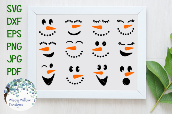 Snowman Faces Bundle Graphic Crafts By WispyWillowDesigns