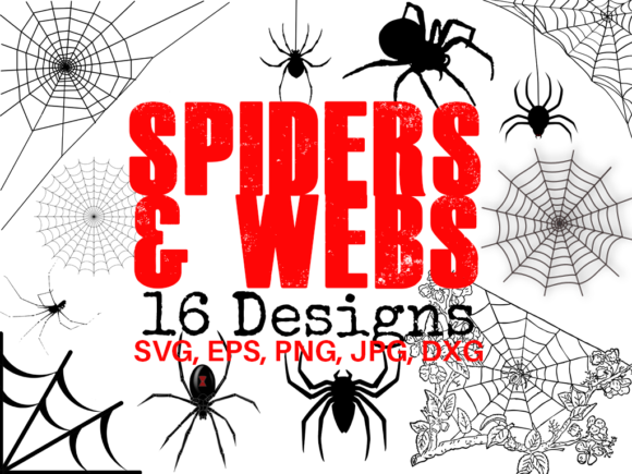 Download Free Spiders And Webs Graphic By Quiet Deluxe Digital Creative Fabrica for Cricut Explore, Silhouette and other cutting machines.