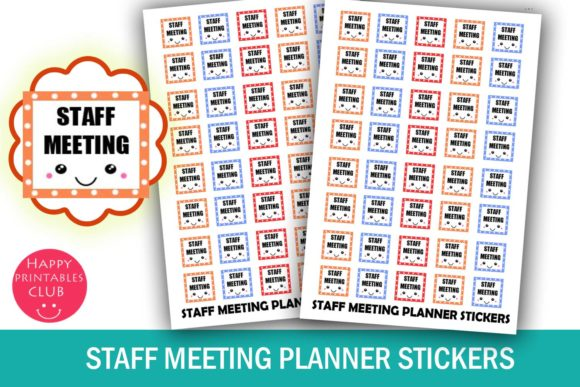 Print on Demand: Staff Meeting Planner Stickers Graphic Crafts By Happy Printables Club - Image 1
