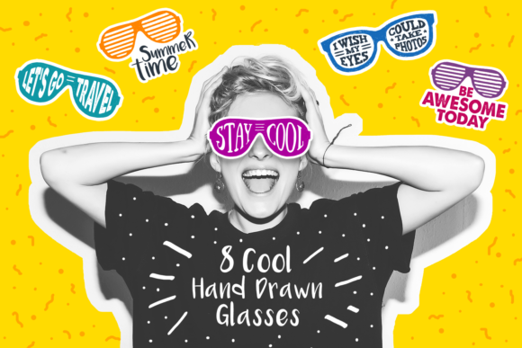 Print on Demand: Stay Cool! 8 Hand Drawn Stickers Graphic Logos By Cosmic Store