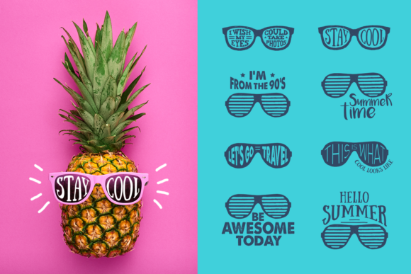 Print on Demand: Stay Cool! 8 Hand Drawn Stickers Graphic Logos By Cosmic Store - Image 10