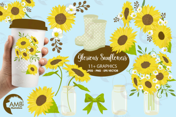 Sunflower Clipart Graphic Illustrations By AMBillustrations