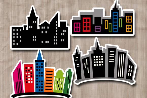 Download Free Superhero City Buildings Skyline Graphic By Revidevi Creative for Cricut Explore, Silhouette and other cutting machines.