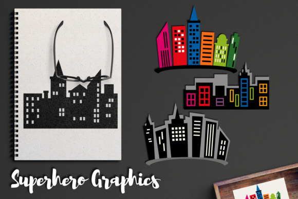 Print on Demand: Superhero City Buildings Skyline Graphic Illustrations By Revidevi