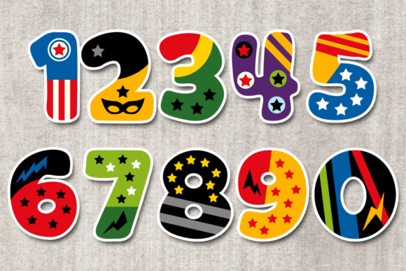 Print on Demand: Superhero Numbers Graphic Illustrations By Revidevi - Image 2