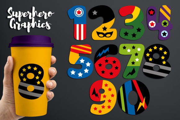Print on Demand: Superhero Numbers Graphic Illustrations By Revidevi