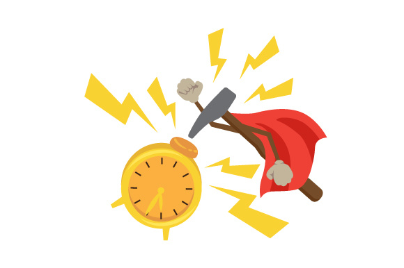 Download Free Superhero Hammer Breaking An Alarm Clock Svg Cut File By for Cricut Explore, Silhouette and other cutting machines.