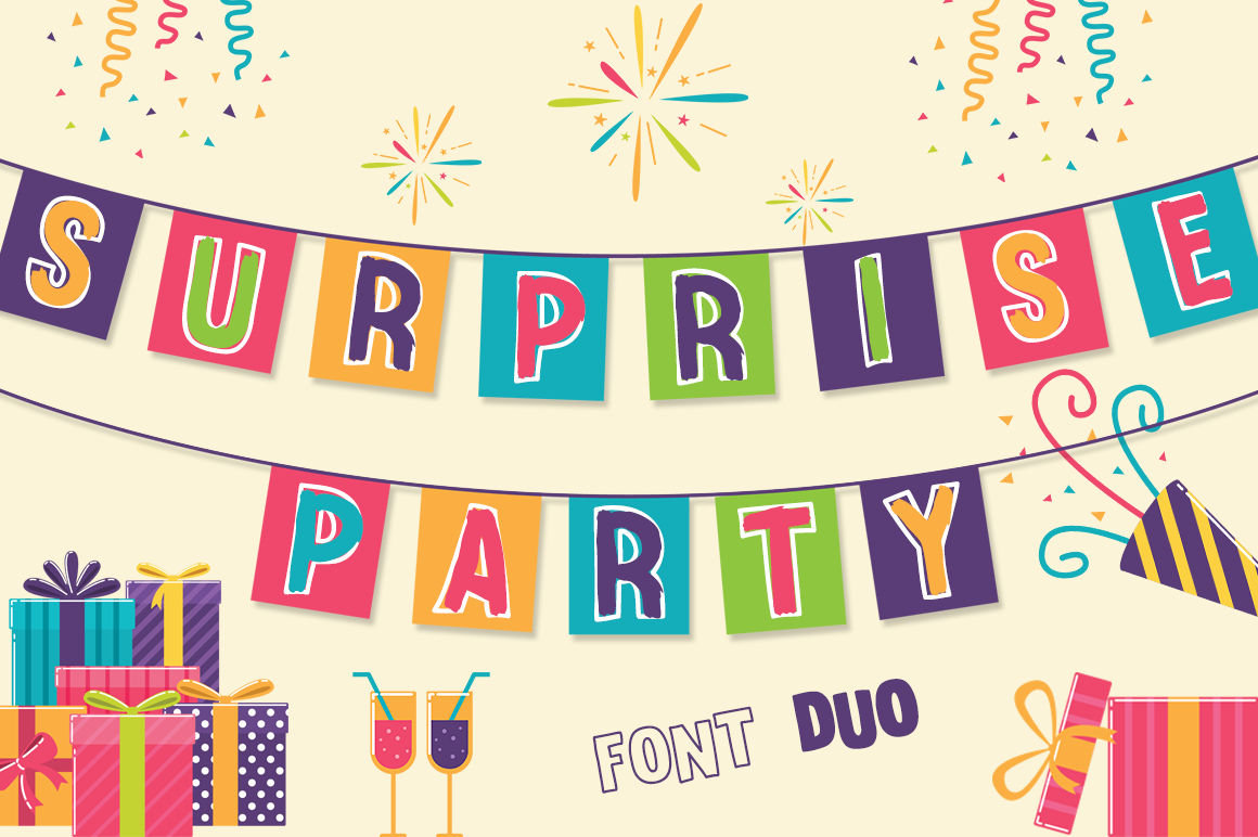 Download Free Surprise Party Family Font By Anastasia Feya Creative Fabrica for Cricut Explore, Silhouette and other cutting machines.