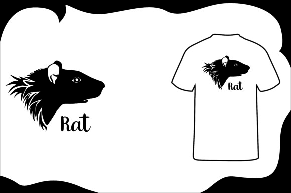 Print on Demand: T Shirt Animal Silhouette Rat Graphic Illustrations By Arief Sapta Adjie - Image 1