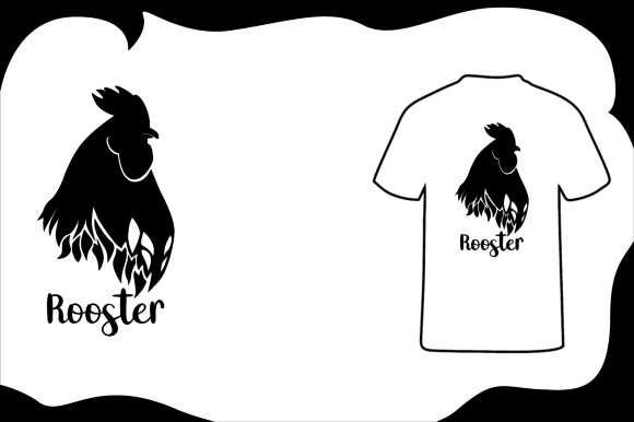Print on Demand: T Shirt Animal Silhouette Rooster Graphic Illustrations By Arief Sapta Adjie - Image 1