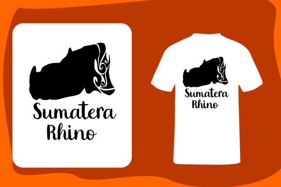 Print on Demand: T Shirt Animal Silhouette Sumatera Rhino Graphic Illustrations By Arief Sapta Adjie - Image 1