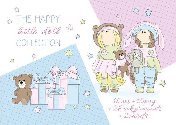 Download Free Tilda Dolls Color Vector Illustration Set Graphic By for Cricut Explore, Silhouette and other cutting machines.
