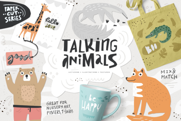 Talking Animals SVG Bundle Graphic Illustrations By Favete Art - Image 1