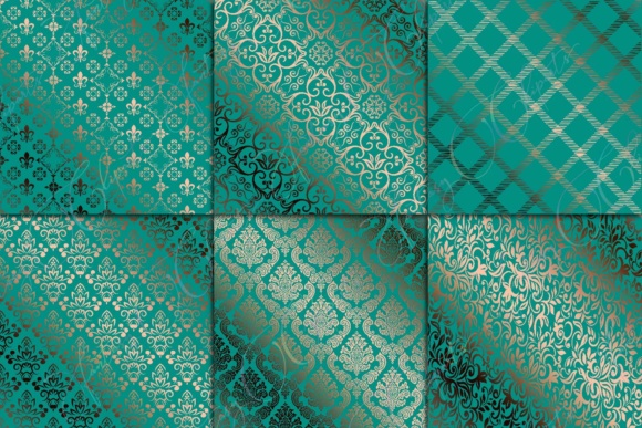 Teal & Copper Digital Paper Graphic By fantasycliparts Image 2