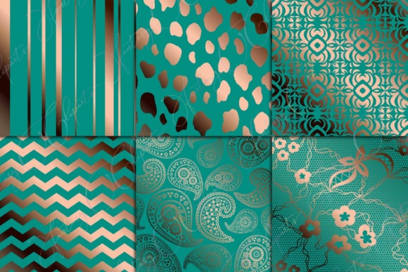 Teal & Copper Digital Paper Graphic By fantasycliparts Image 3