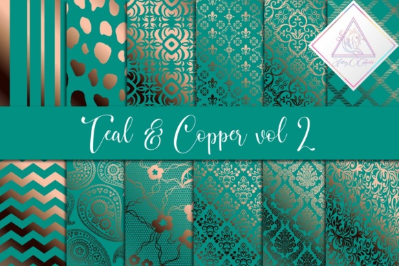 Teal & Copper Digital Paper Graphic By fantasycliparts Image 1