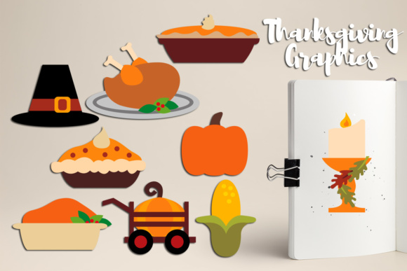 Print on Demand: Thanksgiving Dinner Food Graphic Illustrations By Revidevi