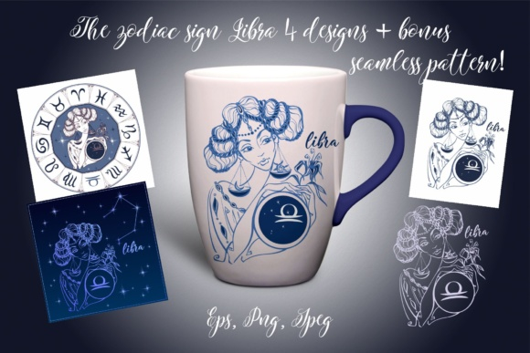 The Zodiac Sign Libra Graphic Illustrations By grigaola