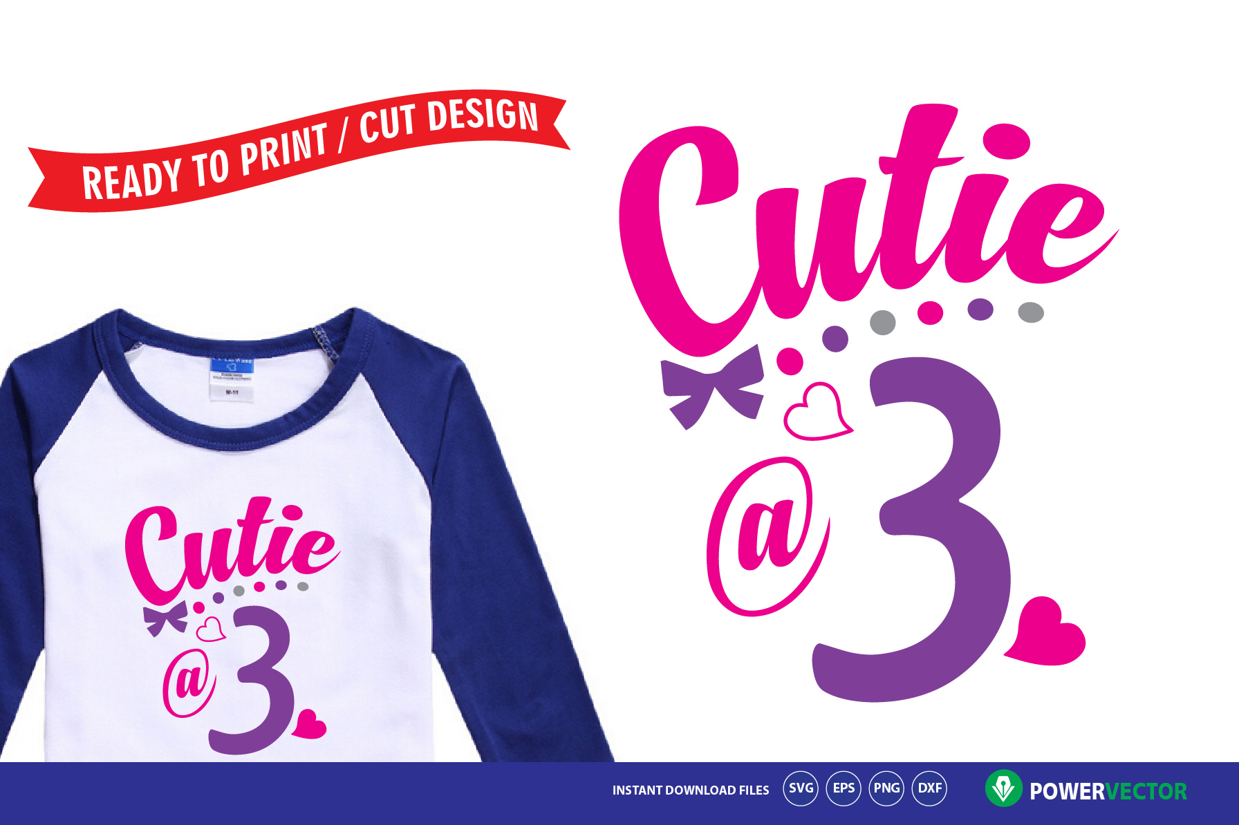 Download Free Third Birthday Cutie At 3 Baby Girl Outfit Design Graphic By for Cricut Explore, Silhouette and other cutting machines.