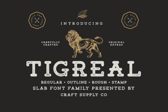 Print on Demand: Tigreal Family Slab Serif Font By craftsupplyco
