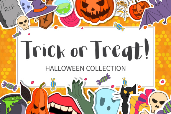 Trick or Treat Halloween Collection Graphic Illustrations By elenachooart