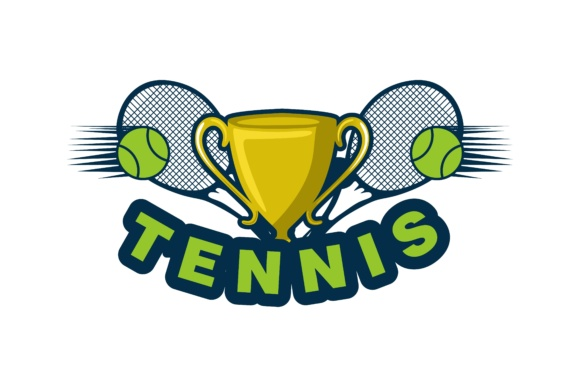 Download Free Trophy Ball And Racket Tennis Logo Design Graphic By for Cricut Explore, Silhouette and other cutting machines.