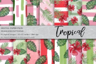 Download Free Tropical Background Digital Paper Graphic By Bonadesigns for Cricut Explore, Silhouette and other cutting machines.
