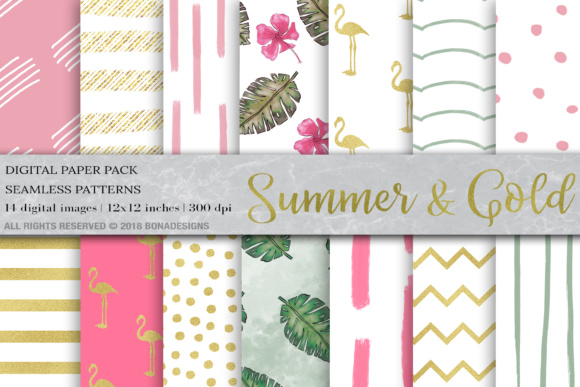 Tropical Background Digital Papers Graphic Backgrounds By BonaDesigns