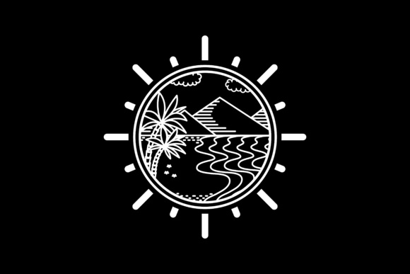 Download Free Tropical Island Line Art Design Graphic By Sabavector Creative for Cricut Explore, Silhouette and other cutting machines.