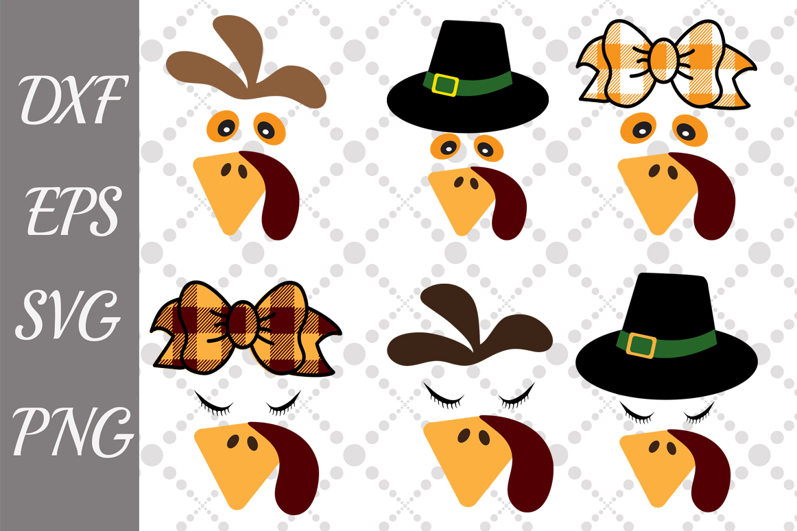 Download Free Turkey Face Bundle Graphic By Prettydesignstudio Creative Fabrica for Cricut Explore, Silhouette and other cutting machines.