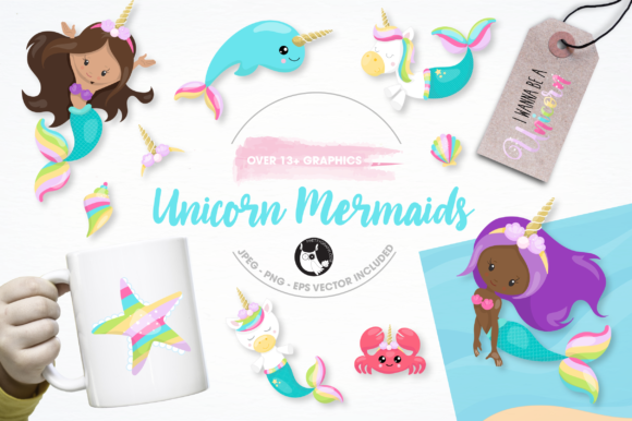 Download Free Unicorn Mermaid Graphics And Illustrations Graphic By for Cricut Explore, Silhouette and other cutting machines.
