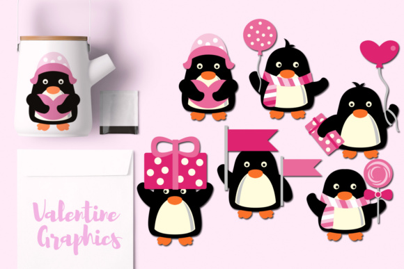 Print on Demand: Valentine Penguins Graphic Illustrations By Revidevi