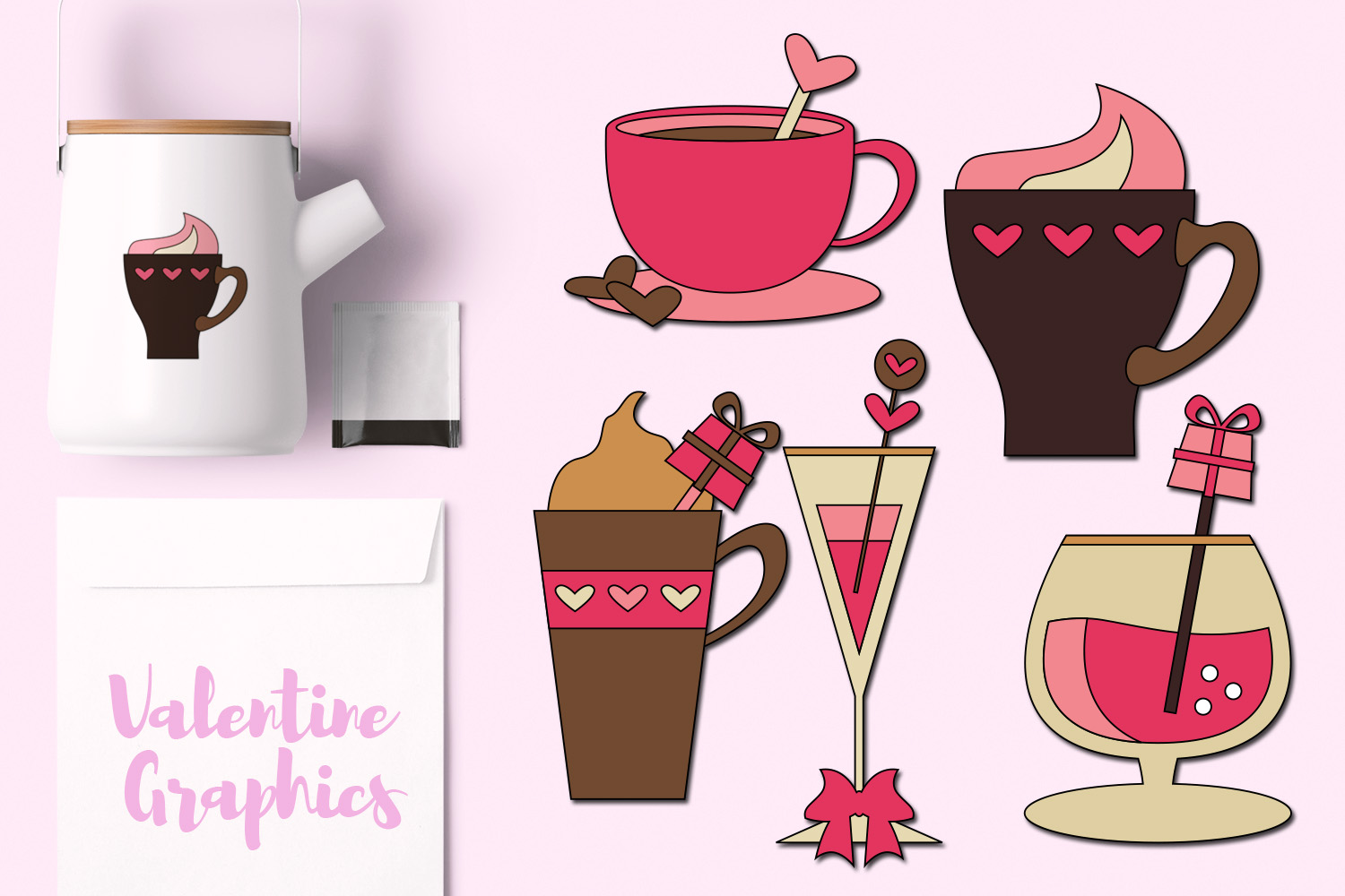 Download Free Valentine S Day Drinks Graphic By Revidevi Creative Fabrica for Cricut Explore, Silhouette and other cutting machines.