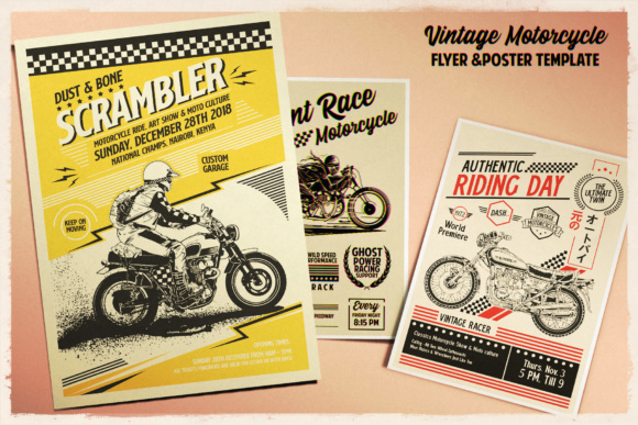 Print on Demand: Vintage Motorcycle Poster Template Graphic Print Templates By Tiar Prayoga - Image 2