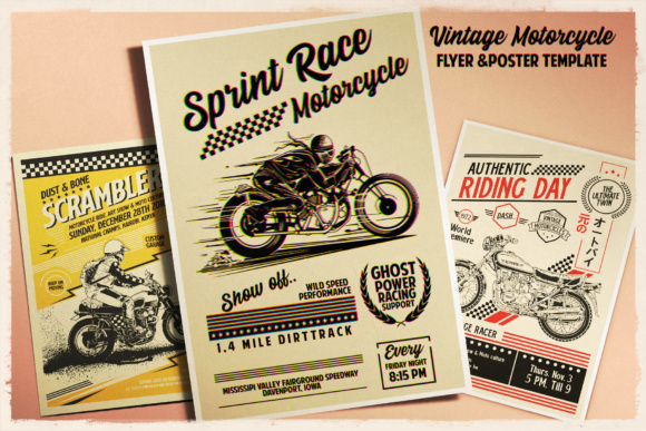 Print on Demand: Vintage Motorcycle Poster Template Graphic Print Templates By Tiar Prayoga - Image 3
