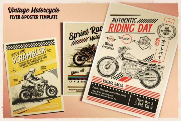Print on Demand: Vintage Motorcycle Poster Template Graphic Print Templates By Tiar Prayoga - Image 4