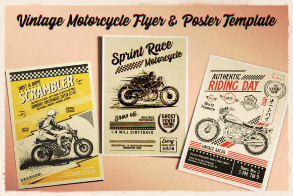 Print on Demand: Vintage Motorcycle Poster Template Graphic Print Templates By Tiar Prayoga
