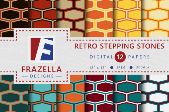 Print on Demand: Vintage Stepping Stones Retro Digital Paper Collection Graphic Patterns By Frazella Designs