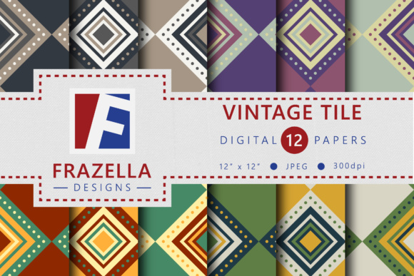 Print on Demand: Vintage Tile Retro Digital Paper Collection Graphic Patterns By Frazella Designs