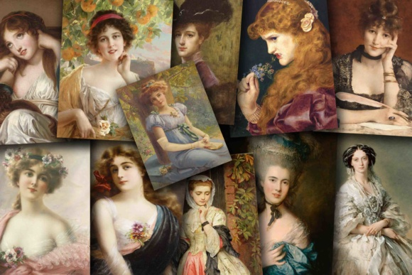 Print on Demand: Vintage Victorian Women Portraits Graphic Illustrations By retrowalldecor