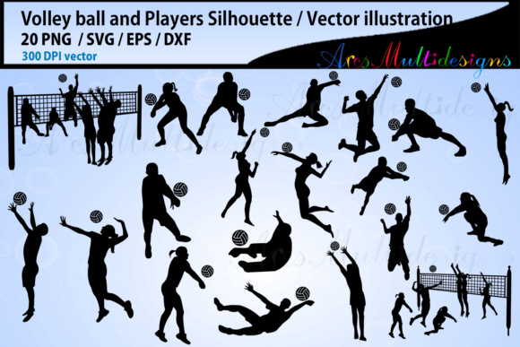 Print on Demand: Volley Ball Silhouettes Graphic Illustrations By Arcs Multidesigns