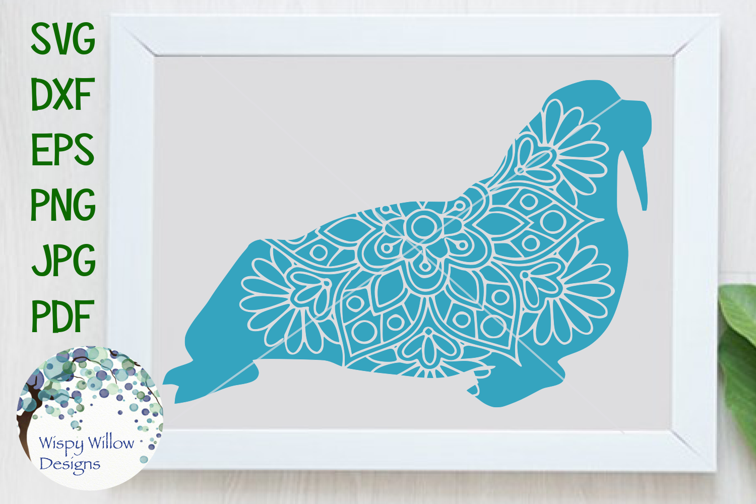 Download Free Walrus Mandala Graphic By Wispywillowdesigns Creative Fabrica for Cricut Explore, Silhouette and other cutting machines.