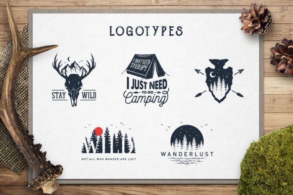 Print on Demand: Wanderlust. 15 Double Exposure Logos Graphic Logos By Cosmic Store - Image 6