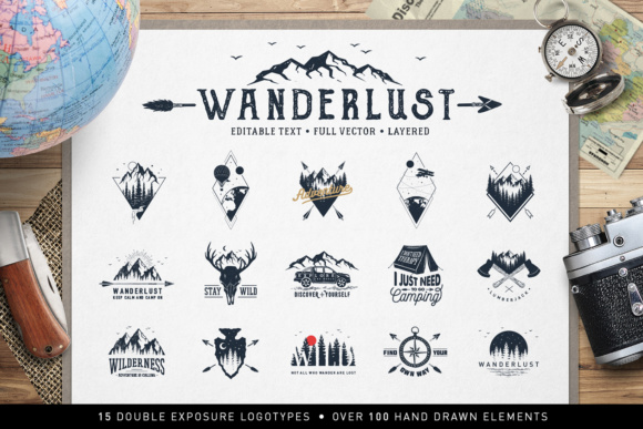 Print on Demand: Wanderlust. 15 Double Exposure Logos Graphic Logos By Cosmic Store