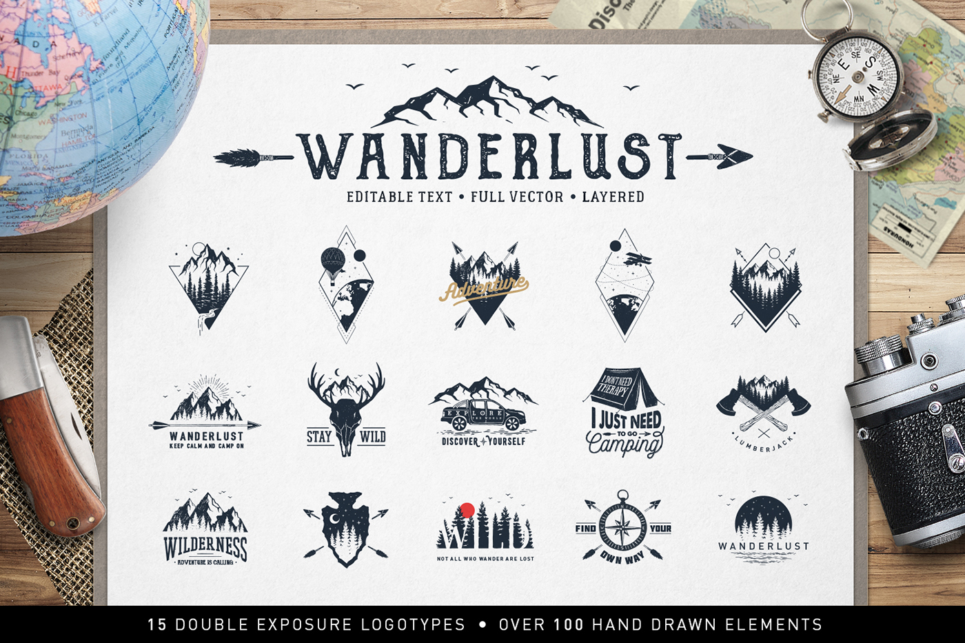 Download Free Wanderlust 15 Double Exposure Logos Graphic By Cosmic Store for Cricut Explore, Silhouette and other cutting machines.