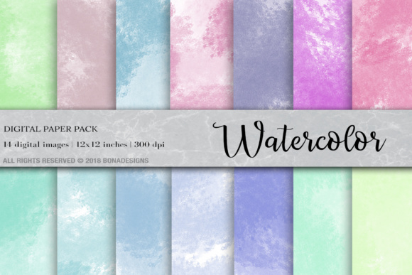 Watercolor Background Digital Paper Graphic Backgrounds By BonaDesigns