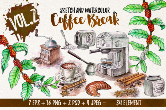 Watercolor Break Time Coffee Graphic Objects By Graphobia