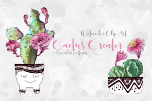 Watercolor Cactus Creator + Pattern Graphic Illustrations By nicjulia