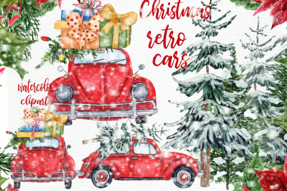 Car Christmas.Watercolor Christmas Cars Clipart