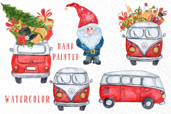Download Free Watercolor Christmas Cars Clipart Graphic By Vivastarkids for Cricut Explore, Silhouette and other cutting machines.